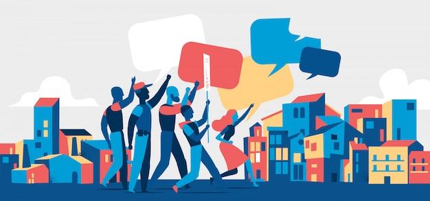 Люди протестуют на демонстрации или пикете на улицах города. молодежная толпа против насилия, загрязнения, дискриминации, нарушения прав человека