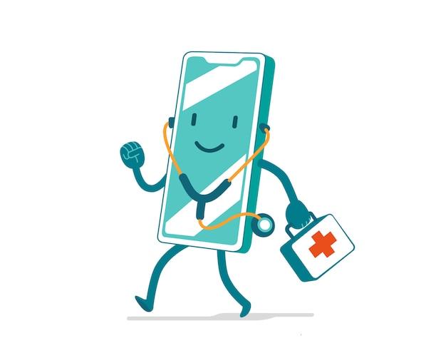 Скорая медицинская помощь. милый мультипликационный персонаж со стетоскопом и аптечкой для мобильного приложения