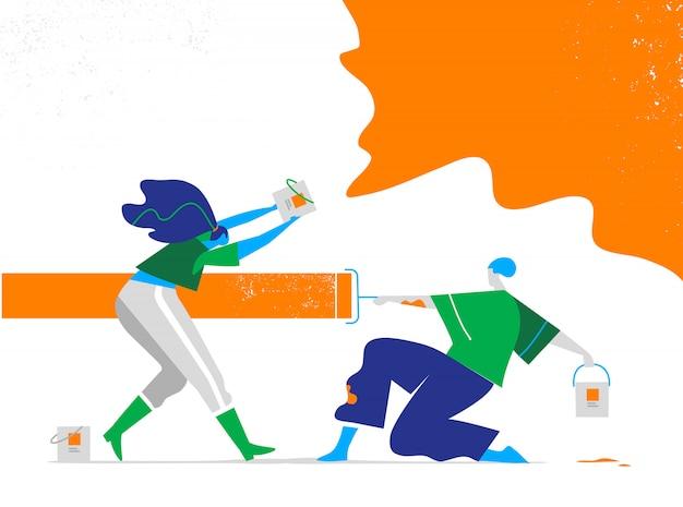 ペイントローラーで壁を着色し、色をはねかける若い創造的なアーティストのカップル