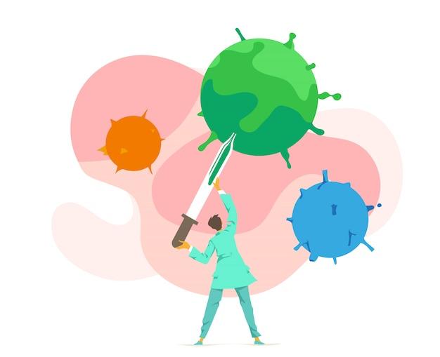 Врач, микробиолог, вирусолог изучает, берет образец вируса. химико-лабораторный бактериологический анализ