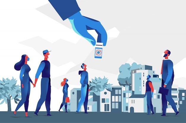 市内のマスクを身に着けている人々、ワクチンのボトルを持っている手