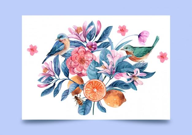 イラストの水彩画の花