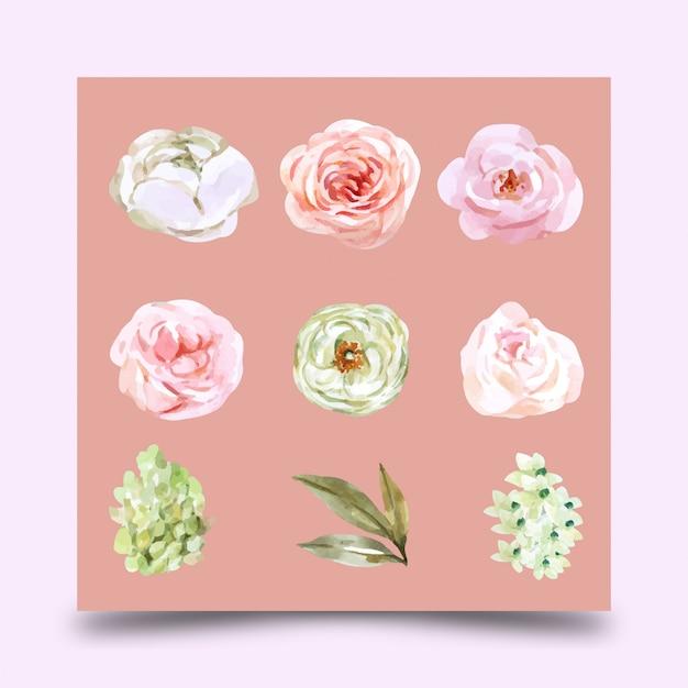 Цветочная свадьба акварель элемент дизайна