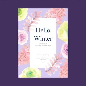 Привет зима акварельный фон с зимней атрибутикой