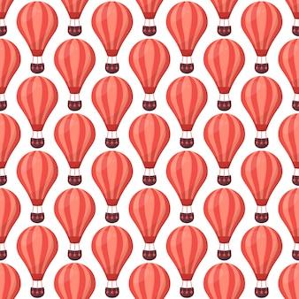 熱気球のレトロなシームレスパターン。