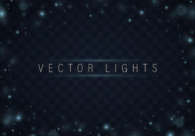 青色の背景にクリスマスの抽象的なパターンの光沢のある星