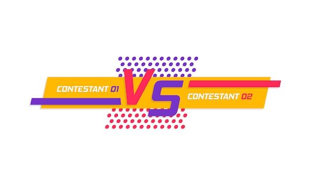 スポーツと戦いの競争のためのロゴ対文字対。画面デザインと