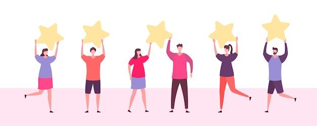 製品、サービスを評価している顧客。カスタマーレビューの評価。さまざまな人々がフィードバックの評価とレビューを与えます。