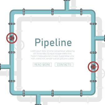 Трубопровод . клапан, соединители труб, счетчики, детали труб установлены.