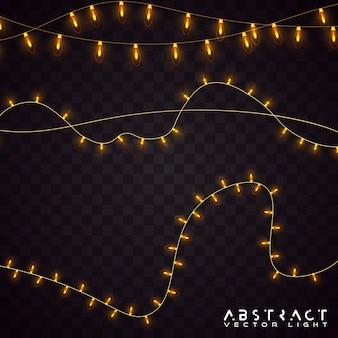 黄色のライトは、現実的なデザイン要素を分離しました。透明な背景に分離されたライト。輝くガーランド。図。