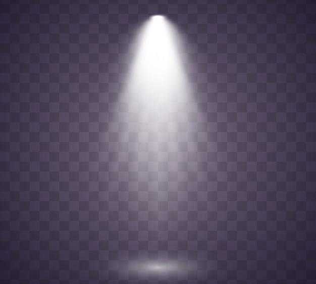 Коллекция освещения сцены. прозрачный реалистичный эффект. свет эксклюзивный эффект использования объектива вспышки света. освещенная сцена. подиум в центре внимания.