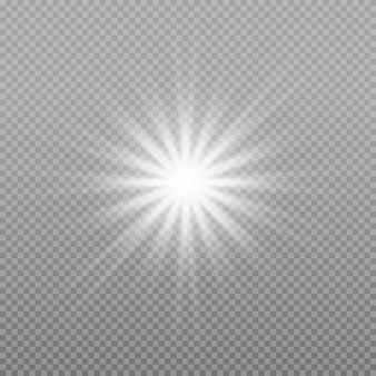 Яркая звезда. белый светящийся свет взрывается на прозрачном фоне.