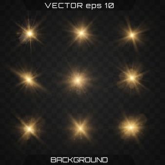 Набор золотых ярких красивых звезд с эффектом свечения