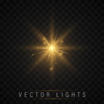 ライト効果セット。輝く星、太陽の粒子、火花