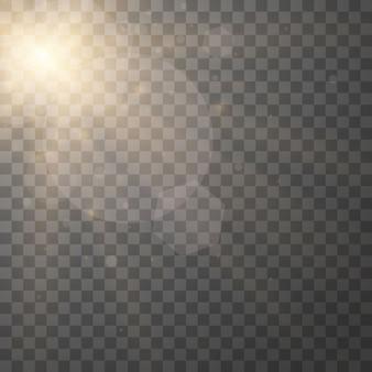 Желтый светящийся взрыв взрыв на прозрачном
