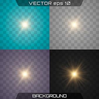 グローは、白い透明な光の効果セットを分離しました。