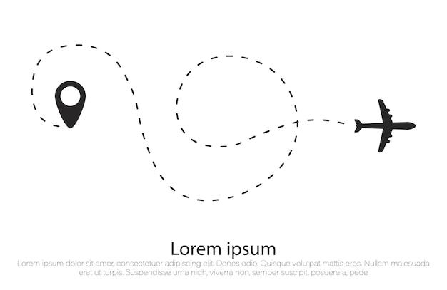 点線形状の飛行機ルート