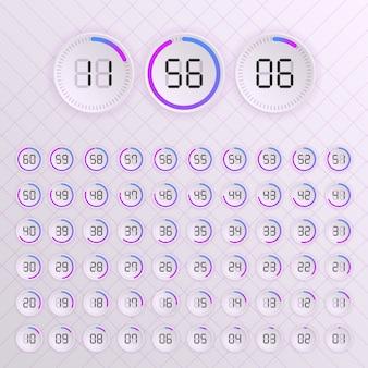 タイマーのセット。記号アイコン。ブラックティックの時間と白のミニマルな時計ダイヤルのセット。