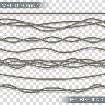 Электрические кабели. реалистичные электрические серые промышленные провода