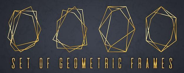 幾何学的な多面体のゴールドコレクション。