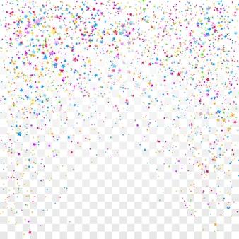 お祝いのカラフルな星の紙吹雪の背景。