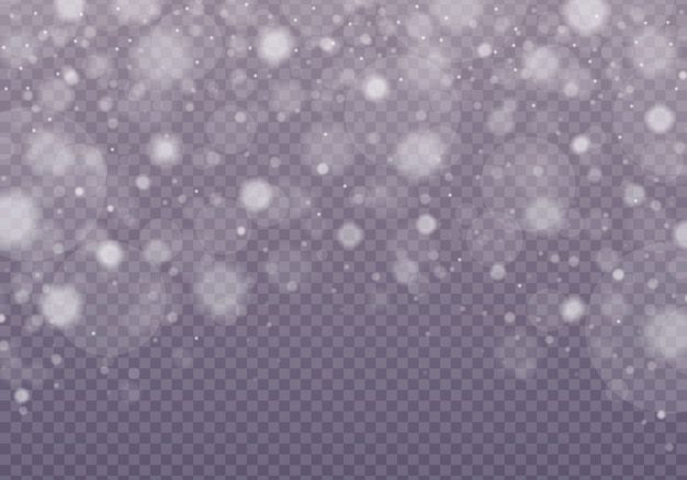Снег, сияющий боке, изолированные на прозрачном фоне.