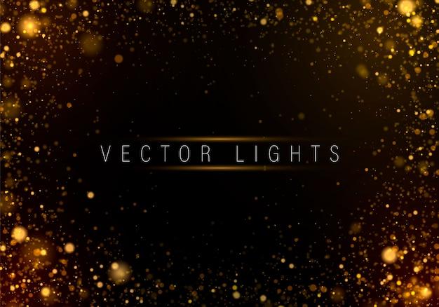カラフルなライトのボケ味を持つ黄金の明るい背景。
