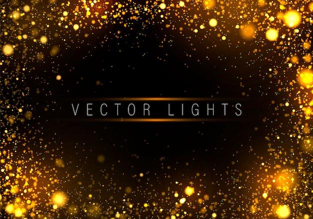 Праздничный золотой светящийся фон разноцветные огни боке
