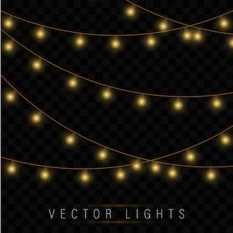 黄色のクリスマスライト。クリスマス輝く花輪。