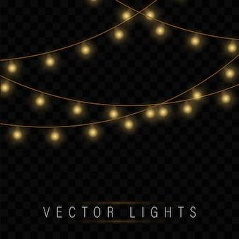 Желтые рождественские огни. рождественские светящиеся гирлянды.