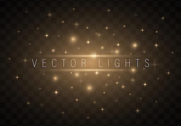 Легкие абстрактные светящиеся огни на прозрачном фоне