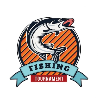 Современная летняя рыбалка логотип значок иллюстрации
