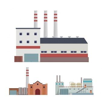 現代の工業工場と倉庫物流建物のイラストセット