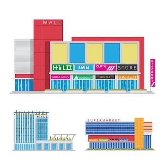現代フラット商業都市のショッピングモールイラスト