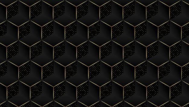 黄金の詳細とエレガントな幾何学模様の背景