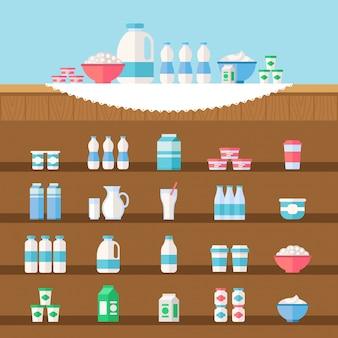 乳製品のイラストセット。牛乳、ケフィア、ヨーグルト、サワークリーム、クリーム。