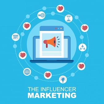 インフルエンサーマーケティングの概念。ソーシャルネットワーク管理。