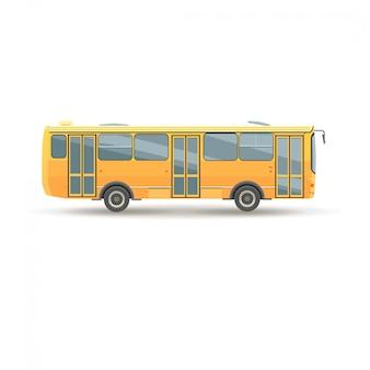 Плоский дизайн общественного транспорта городской автобус, вид сбоку, изолированные
