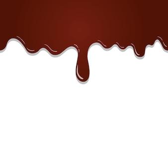 Бесшовный фон течет растопленный шоколад на белом фоне