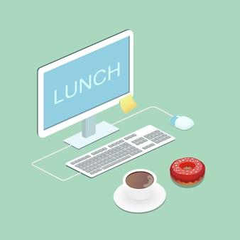 Ноутбук, кофе и пончик иллюстрация вектор концепция обед
