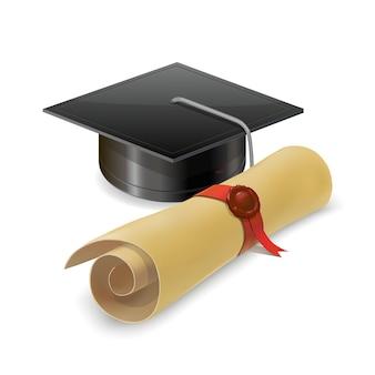 Выпускной колпачок с дипломом. изолированный