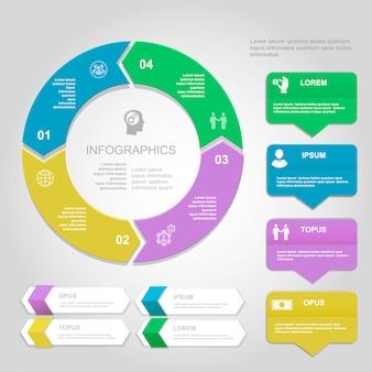 インフォグラフィックデザインテンプレート、プレゼンテーション、グラフ