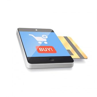 クレジットカードでの現代のモバイルスマートフォン。ベクター