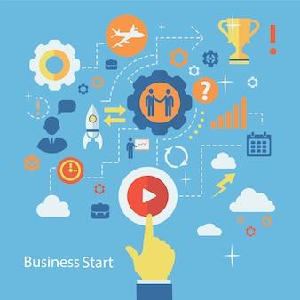 ビジネス開始インフォグラフィック構成。人間とのスキーム