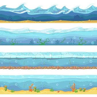 Волны воды океан, море бесшовные