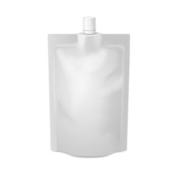 Белая пустая упаковка из фольги для пищевых продуктов или напитков с крышкой из носика. шаблон пластиковой упаковки