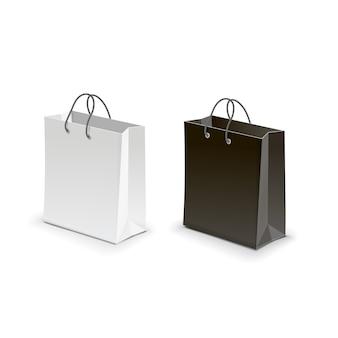 ショッピングバッグ黒白いベクトル図