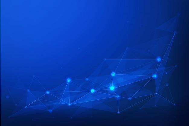 青い多角形の背景。