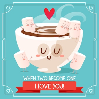 チョコレートとマシュマロ背景のデザイン