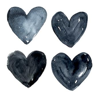 Черная коллекция акварельных сердца